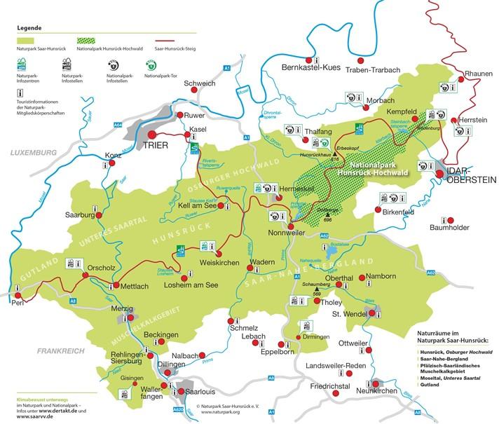 Hunsrück Hochwald Karte.Nationalpark Hunsrück Hochwald Naturpark Saar Hunsrück